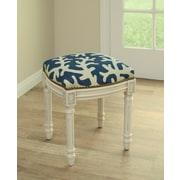 123 Creations Coastal Linen Upholstered Vanity Stool; Navy