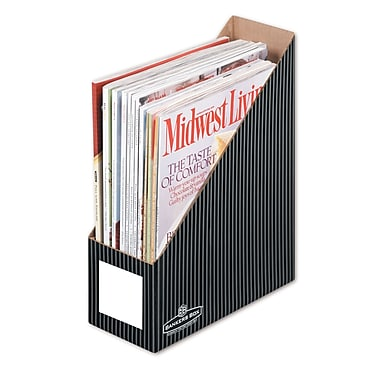 Bankers Box® Decorative Magazine Files, Pinstripe, 4/Pack