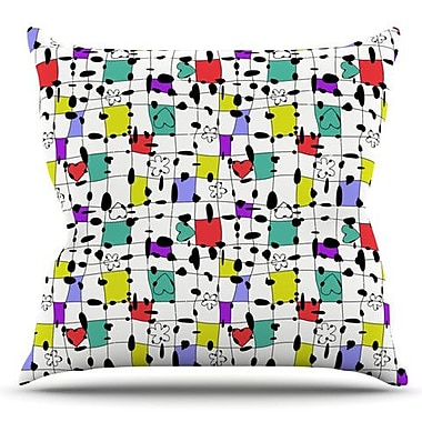 KESS InHouse My Happy Squares by Julia Grifol Outdoor Throw Pillow