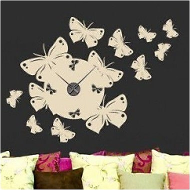 Style and Apply Butterfly Wall Clock Wall Decal; Silver