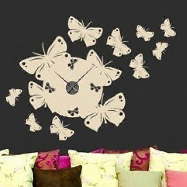 Style and Apply Butterfly Wall Clock Wall Decal; Dark Gray
