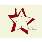 Style and Apply New York Wall Clock II Wall Decal; Dark Red