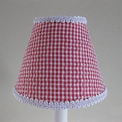Silly Bear So Seersucker 11'' Fabric Empire Lamp Shade; Red