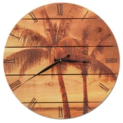 Gizaun Art Vintage Tropic 30'' Cedar Wall Clock
