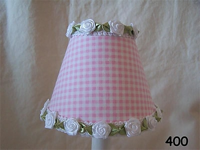 Silly Bear Gardens Of Gingham 11'' Fabric Empire Lamp Shade; Pink