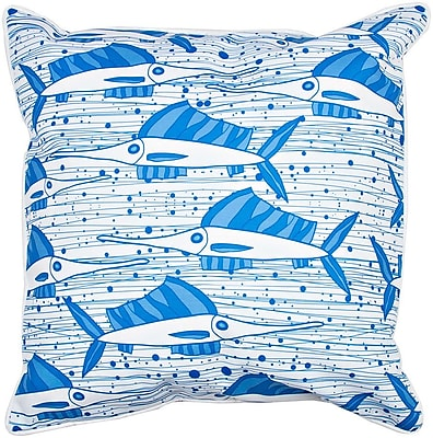 Island Girl Home Coastal Sailfish School BlueThrow Pillow