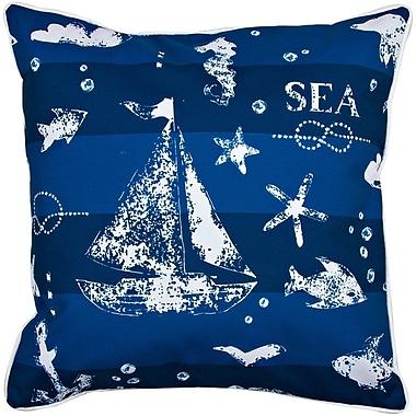 Island Girl Home Nautical Blue Sea Mix Throw Pillow