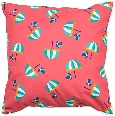 Island Girl Home Coastal Umbrellas and Beach Balls Throw Pillow