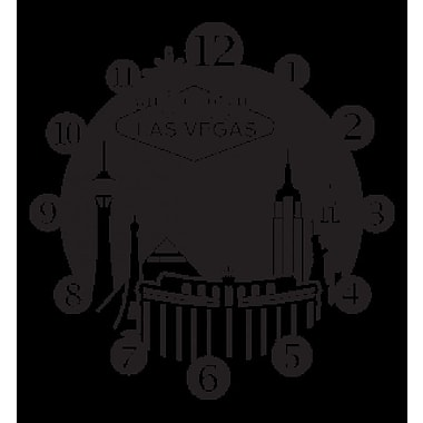 Style and Apply Las Vegas Wall Clock Wall Decal; Dark Green