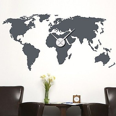 Style and Apply World Map Wall Clock Wall Decal; Dark Green