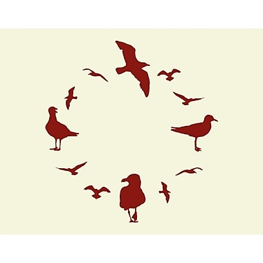 Style and Apply Gulls Wall Clock Wall Decal; Gold