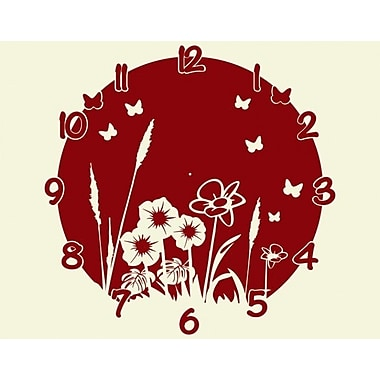 Style and Apply Meadow Wall Clock Wall Decal; Dark Red