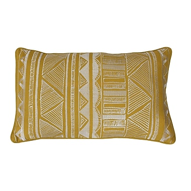 Thro by Marlo Lorenz Tracey Embroidered Tribal Sketch Lumbar Pillow; Lemon Curry
