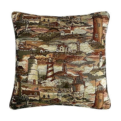 R&MIndustries Lighthouse Tapestry Cotton Throw Pillow