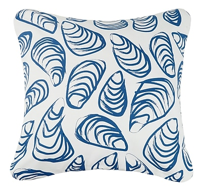 Kate Nelligan Indigo Coast Shells Outdoor Cotton Throw Pillow