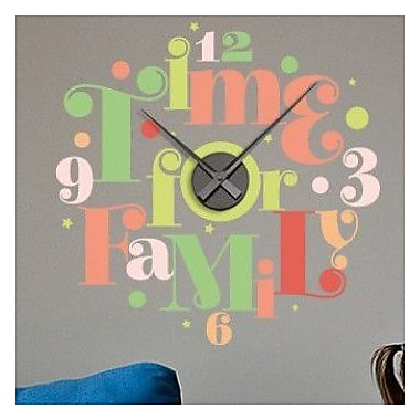 Style and Apply Time for Family Wall Clock Wall Decal