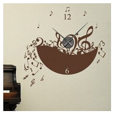 Style and Apply Music Wall Clock Wall Decal; Violet