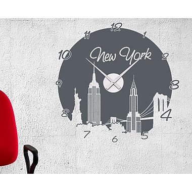 Style and Apply New York Wall Clock Wall Decal; Turquoise