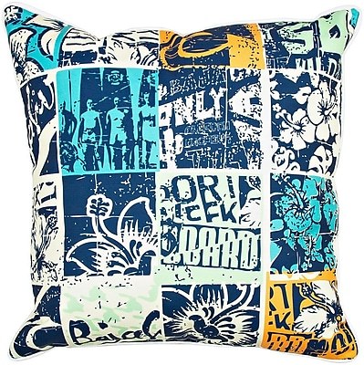 Island Girl Home Surfer Surfing Patchwork Throw Pillow