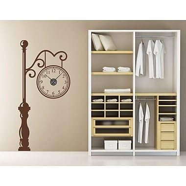 Style and Apply Antic Train Station Wall Clock Wall Decal; Orange