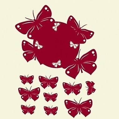 Style and Apply Butterfly Wall Clock Wall Decal; Dark Red