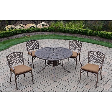 Oakland Living Sunray Mississippi 5 Piece Dining Set w/ Cushions; Sunbrella - Tan