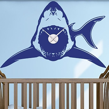 Style and Apply Shark Wall Clock Wall Decal; Royal Blue