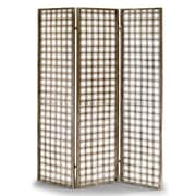 Glamour Home Decor Abbey 70.6'' x 56.7'' Metal Frame Folding Screen Effect 3 Panel Room Divider