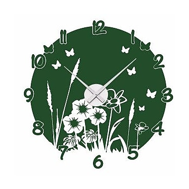Style and Apply Meadow Wall Clock Wall Decal; Black