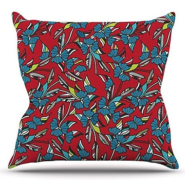 KESS InHouse Paper Leaf by Michelle Drew Outdoor Throw Pillow; Red