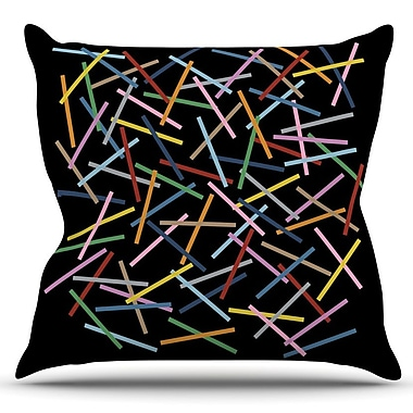 KESS InHouse Sprinkles by Project M Outdoor Throw Pillow; Black