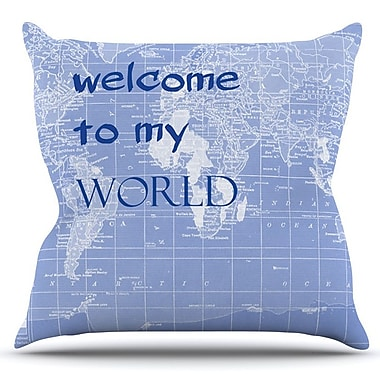 KESS InHouse Welcome to my World Quote by Catherine Holcombe Outdoor Throw Pillow; Purple