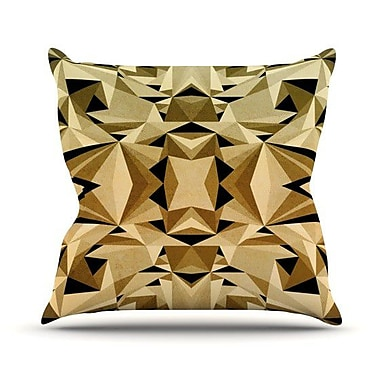 KESS InHouse Abstraction Outdoor Throw Pillow; Gold / Black
