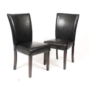 Roundhill Furniture Black Leatherette Parson Chair (Set of 2)