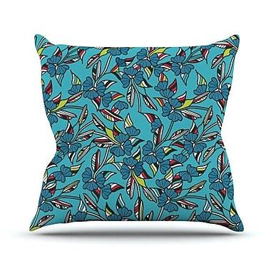 KESS InHouse Paper Leaf Outdoor Throw Pillow; Blue