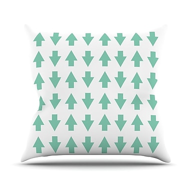 KESS InHouse Arrows Up and Down Outdoor Throw Pillow; Mint