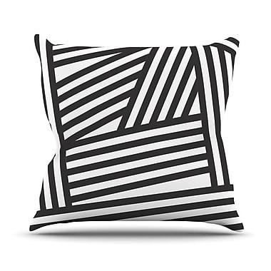 KESS InHouse Stripes Outdoor Throw Pillow; Black