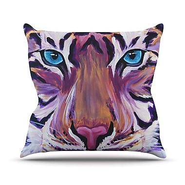 KESS InHouse Purple Tiger Outdoor Throw Pillow