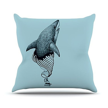 KESS InHouse Shark Record II Outdoor Throw Pillow