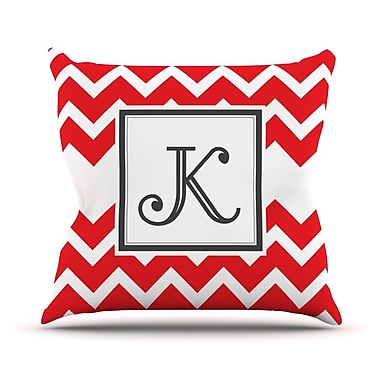 KESS InHouse Monogram Chevron Outdoor Throw Pillow; Red
