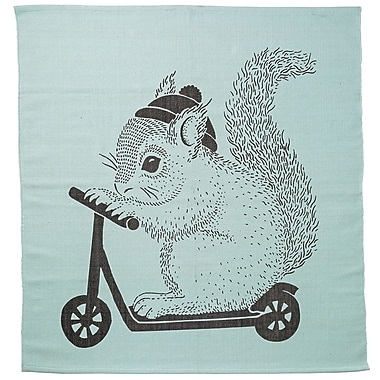 Bloomingville Squirrel on Scooter Mint Area Rug