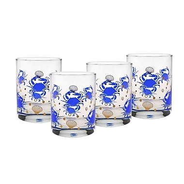 Culver Gold 22k Crab 14 Oz. Double Old Fashion Glasses; Blue
