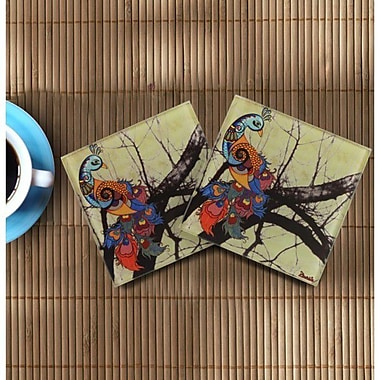 Orchid Trendz Charismatic Peacock Wooden Coasters (Set of 2)