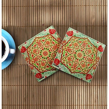 Orchid Trendz Ornate Mughal Wooden Coasters (Set of 2)