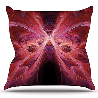 KESS InHouse Butterfly by Alison Coxon Outdoor Throw Pillow; Red