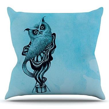 KESS InHouse Owl by Graham Curran Outdoor Throw Pillow; Teal