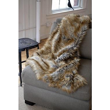 WovenWorkz Wolf Faux Fur Throw Blanket