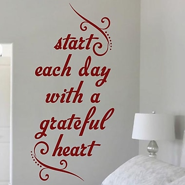 SweetumsWallDecals Start Each Day w/ a Grateful Heart Wall Decal; Cranberry