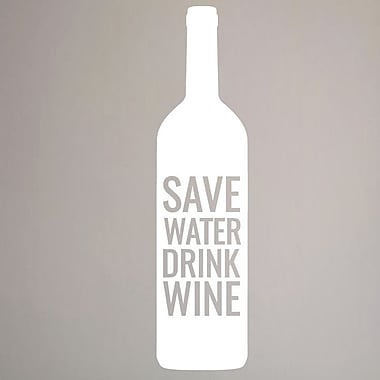 SweetumsWallDecals Save Water Drink Wine Wall Decal; White