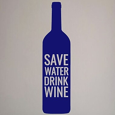 SweetumsWallDecals Save Water Drink Wine Wall Decal; Navy